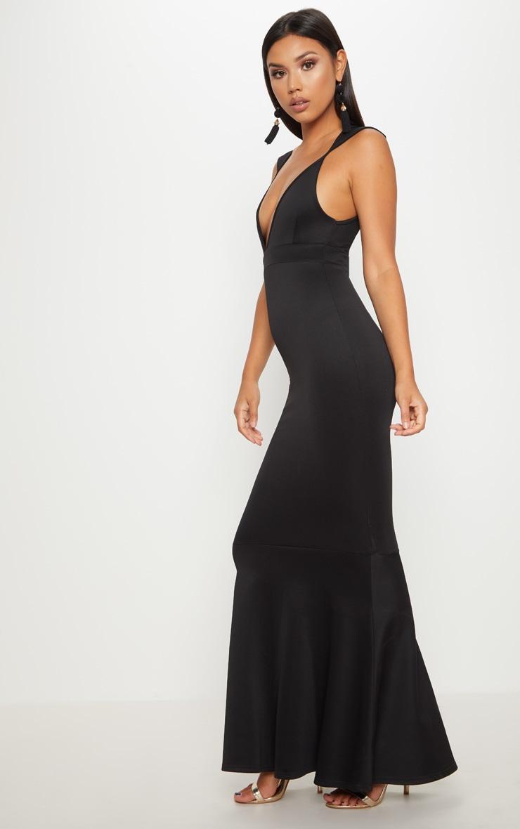 Black Extreme Plunge Shoulder Detail Fishtail Maxi Dress 4