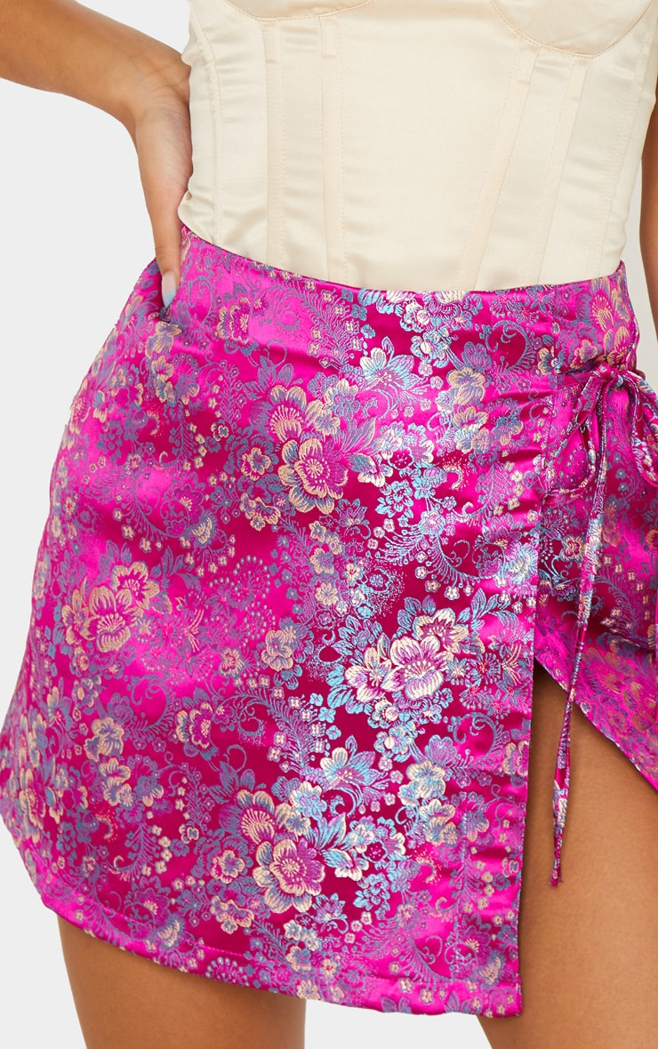 Fuchsia Jacquard Wrap Mini Skirt 6