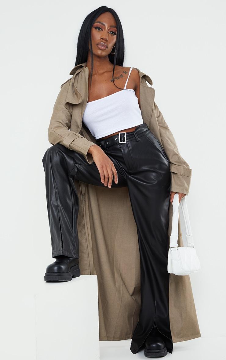 Black Faux Leather Belted Split Hem Straight Leg Trousers 1