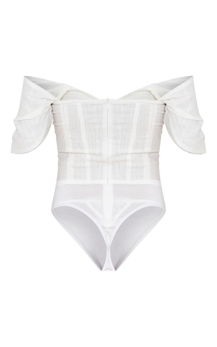 White Linen Look Bardot Draped Bust Corset Bodice Bodysuit 6