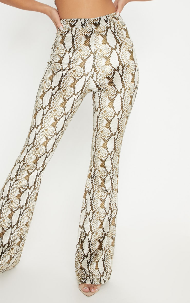 Cream Velvet Snake Flared Trouser 5