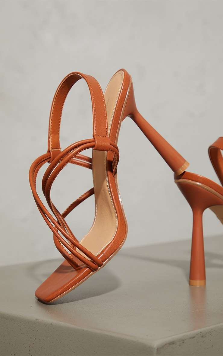 Tan PU Knot Toe Loop Slingback High Flare Heel Sandals 4