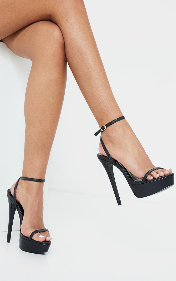 Black PU Platform Strappy High Heels 1