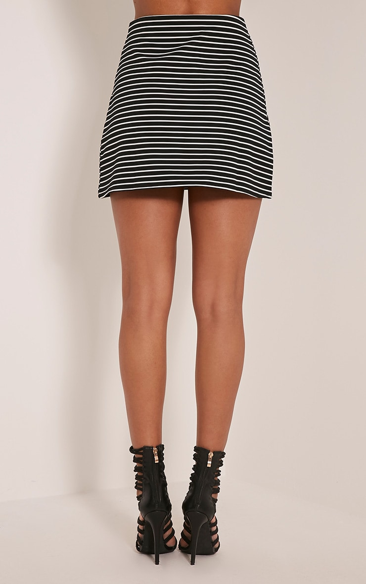 Krystine Black Stripe Button Detail Mini Skirt 5