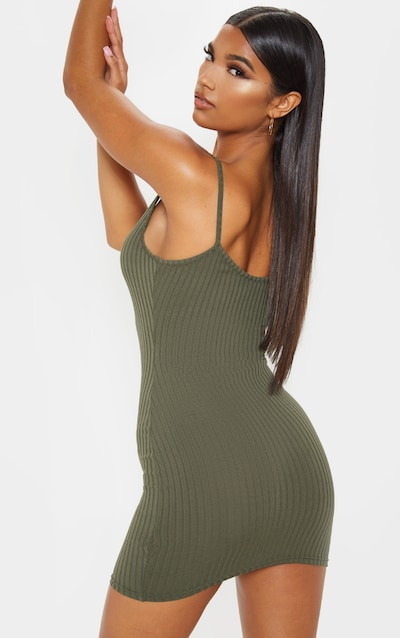 Khaki Rib Plunge Strappy Bodycon Dress