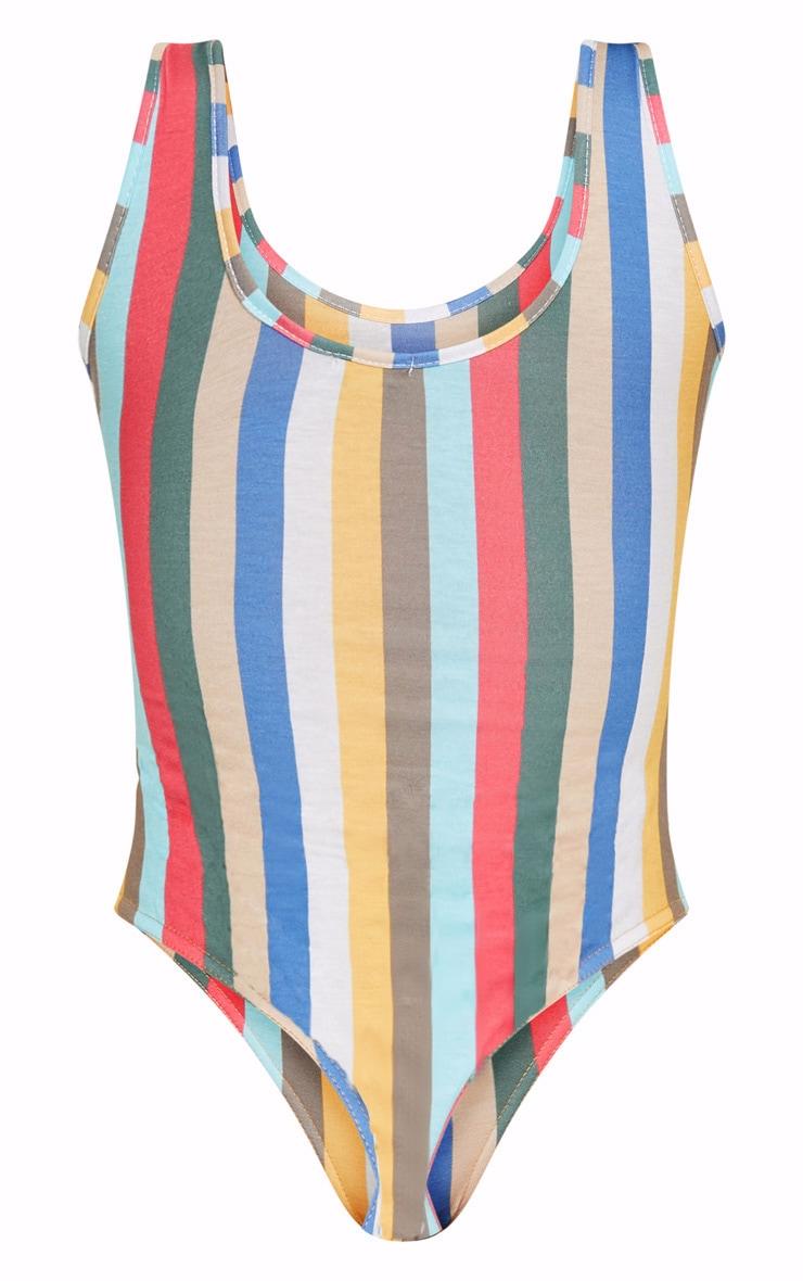 Multi Stripe Slogan Thong Bodysuit 4
