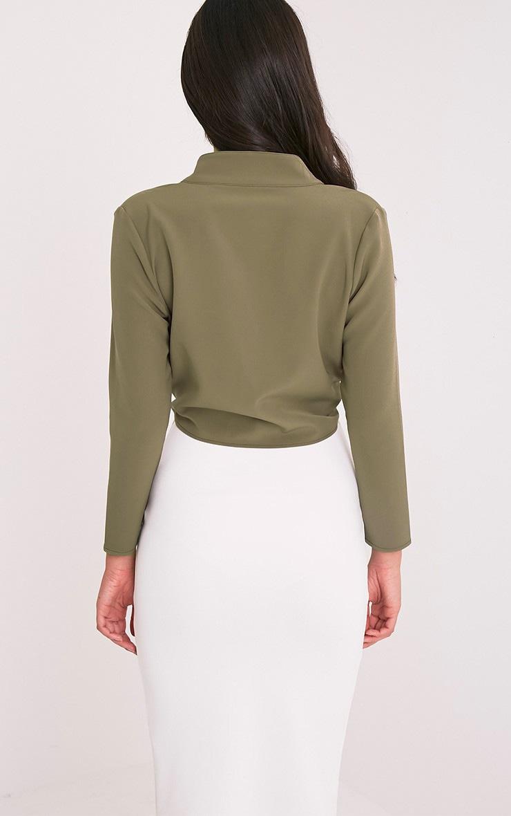 Blanche Khaki Tie Front Long Sleeve Crop Blouse 2