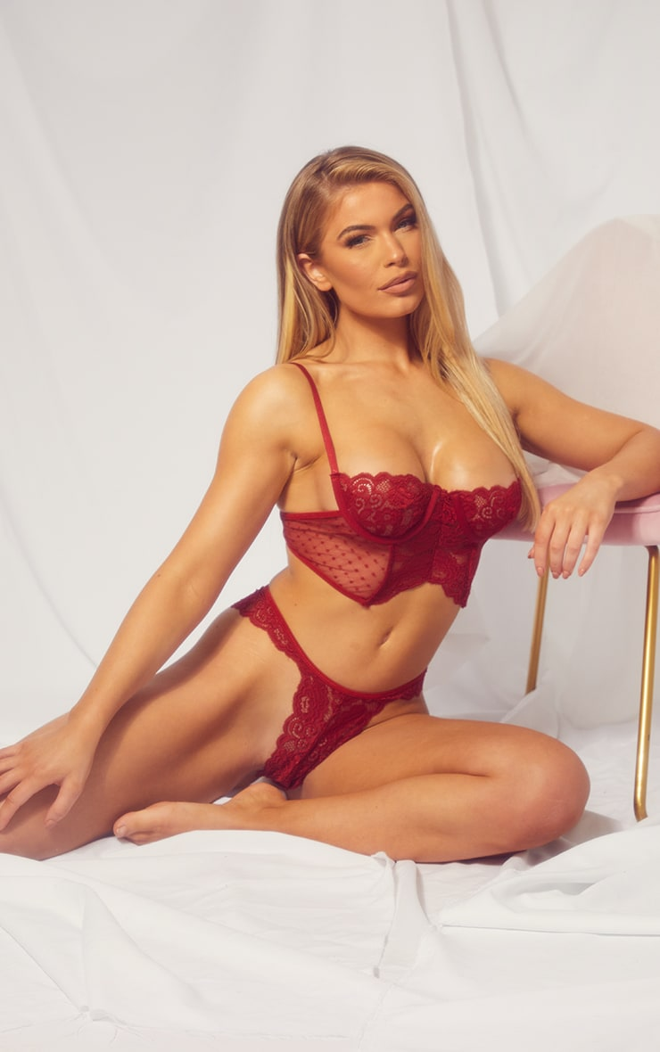 Dark Red Underwired Longline Lace And Mesh Lingerie Set 1