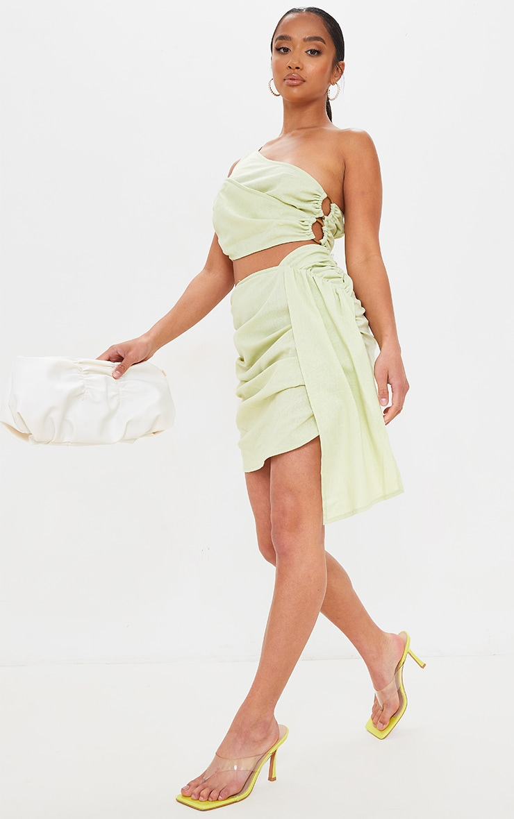 Petite Sage Green Linen Feel Ruched Side Bodycon Skirt 1
