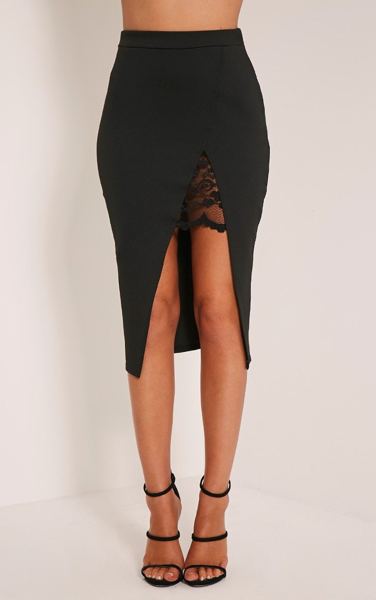 Zaria Black Lace Split Midi Skirt 2