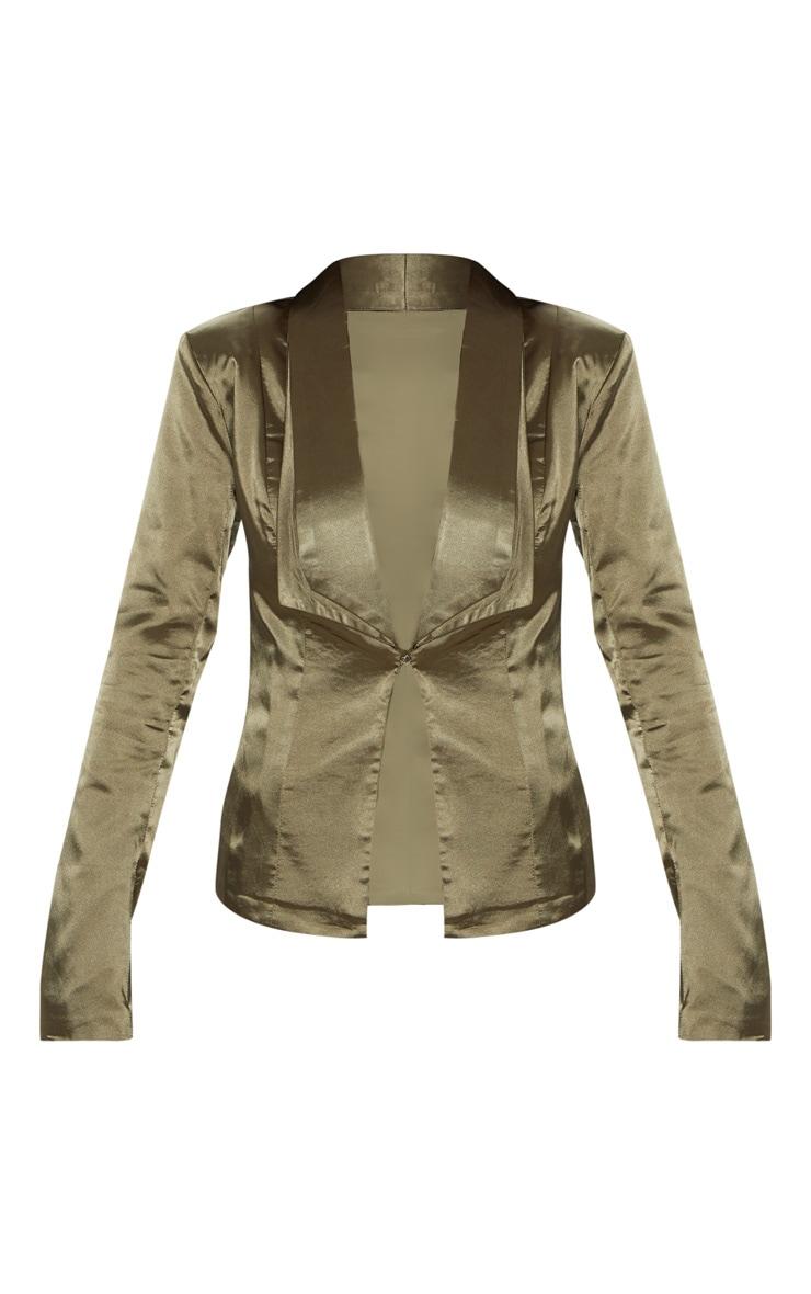 Khaki Satin Longline Blazer 3