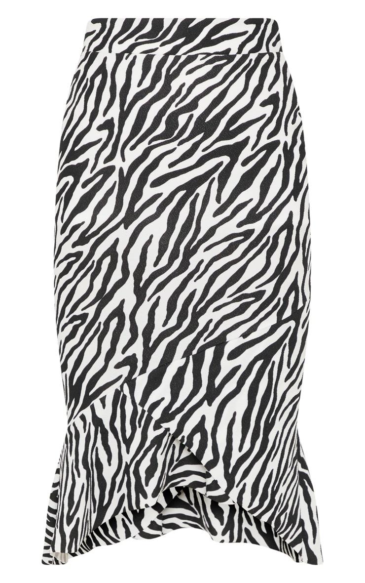 Petite White Zebra Print Ruffle Midi Skirt 3