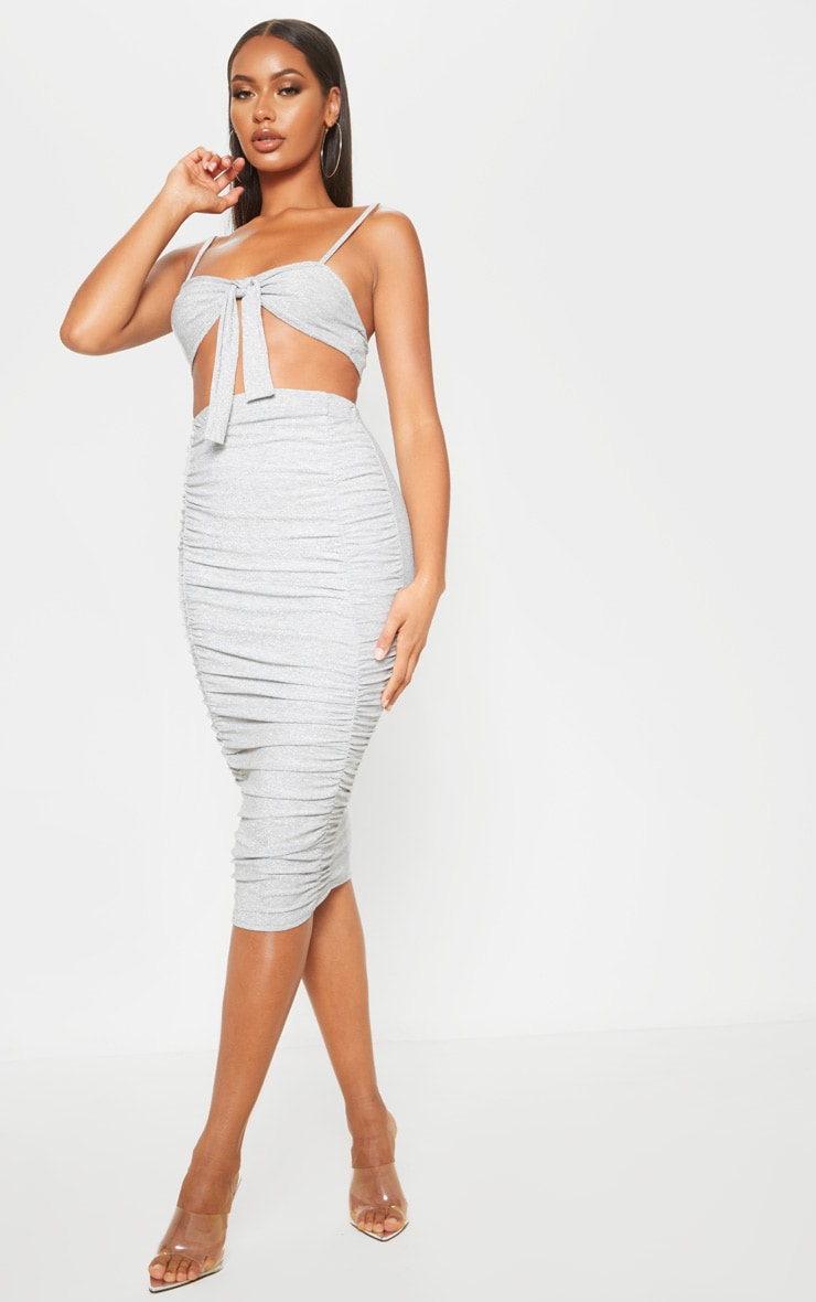 Silver Ruched Front Textured Glitter Midi Skirt 1