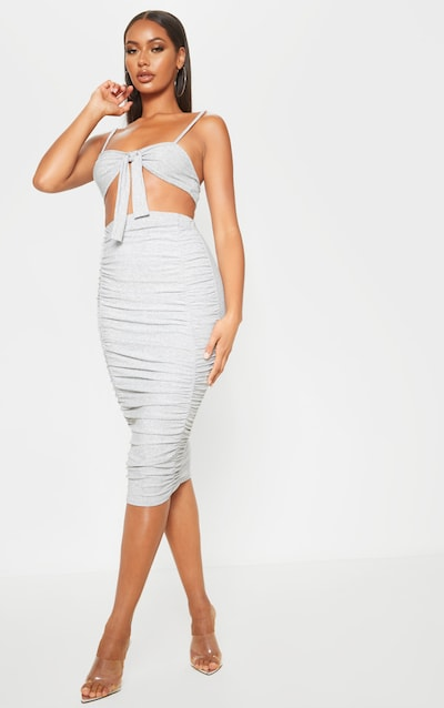 Silver Ruched Front Textured Glitter Midi Skirt