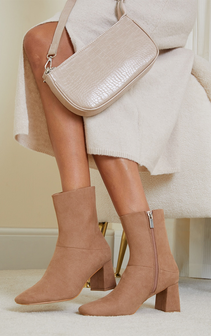 TAN FAUX SUEDE LOW HEELED ANKLE BOOTS