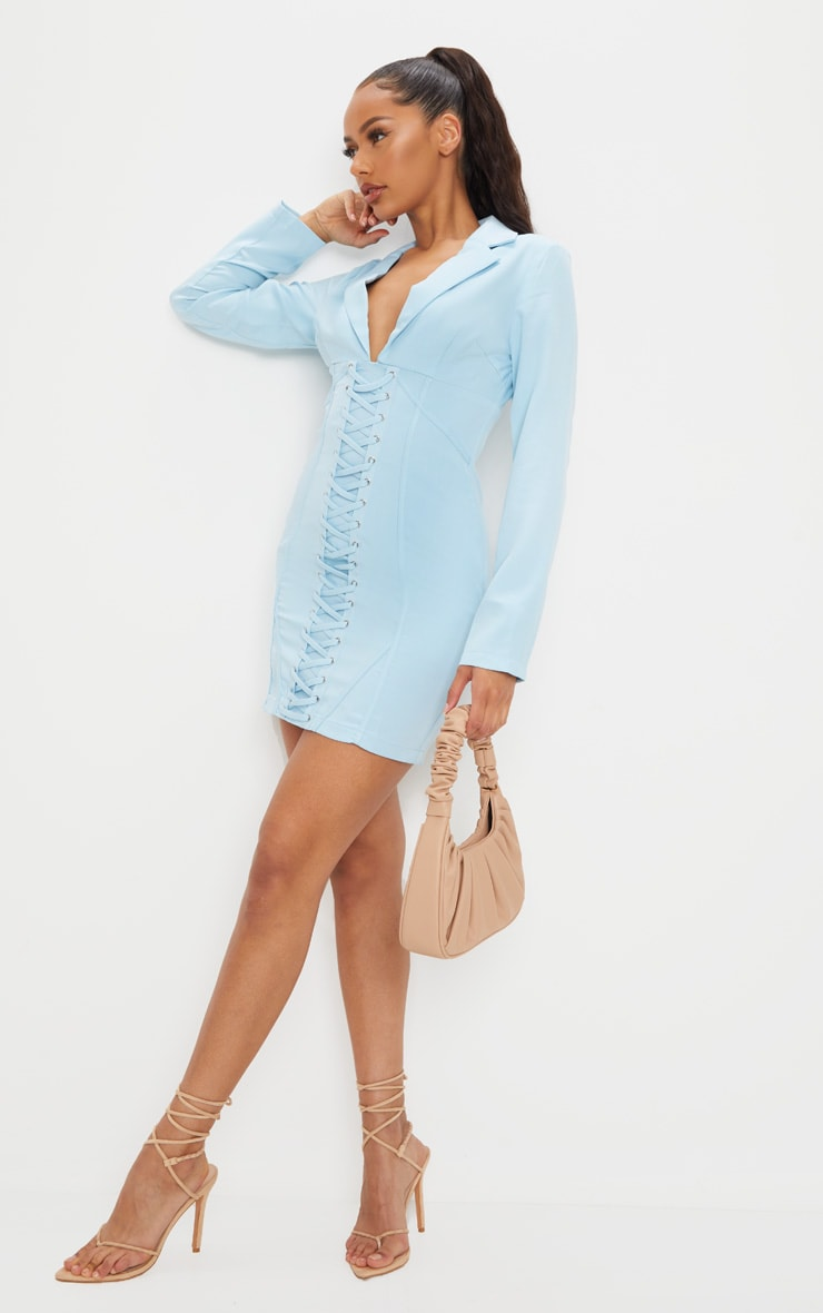 Baby Blue Long Sleeve Corset Lace Up Blazer Style Bodycon Dress 3