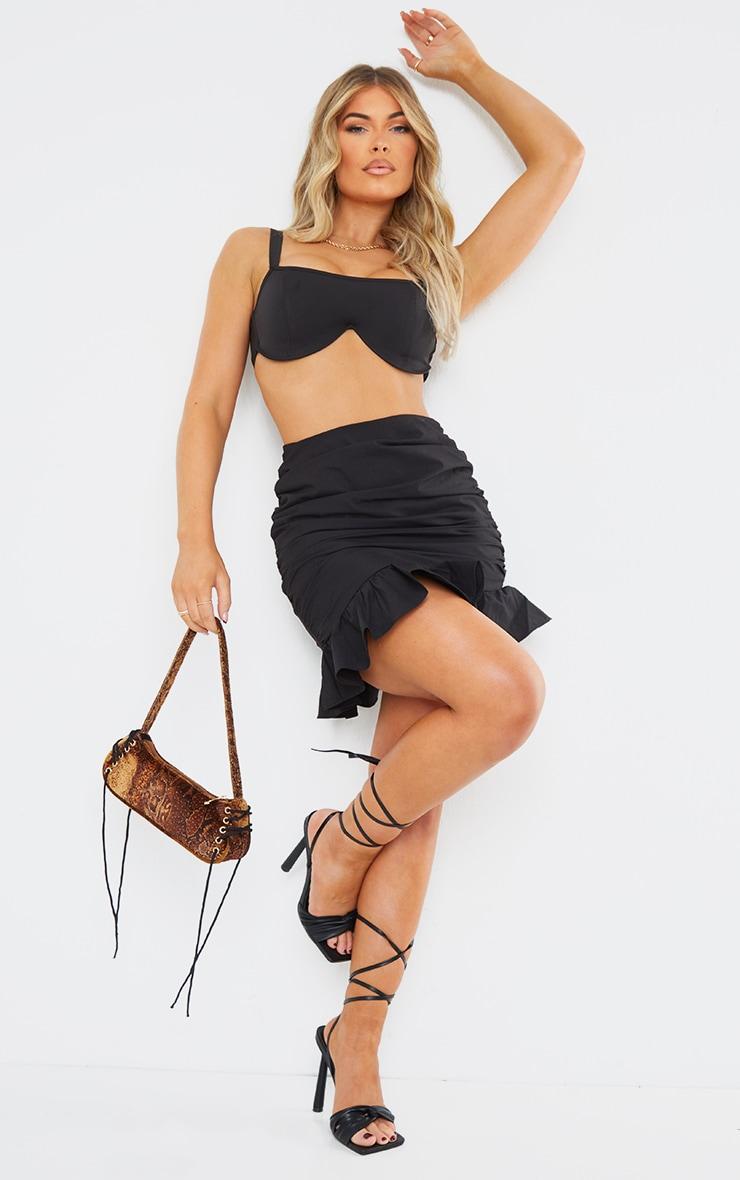 Black Woven Asymmetric Frill Hem Mini Skirt