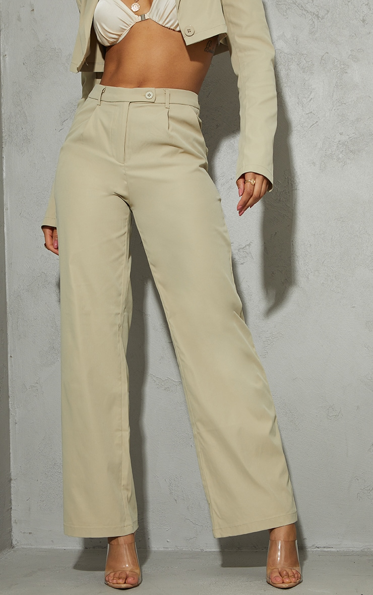 Stone Peach Skin Wide Leg Trousers 4