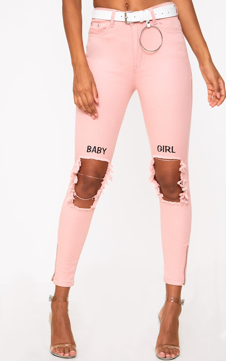 Pink Baby Girl 5 Pocket High Waisted Skinny Jean 2
