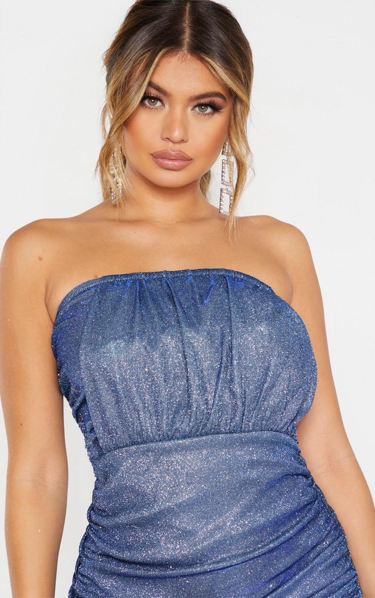 Blue Textured Metallic Glitter Ruched Bandeau Bodycon Dress  5