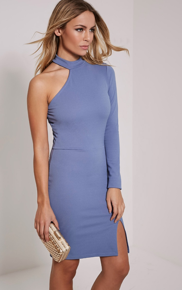 Anastasia Petrol Blue Asymmetric Bodycon Dress 1