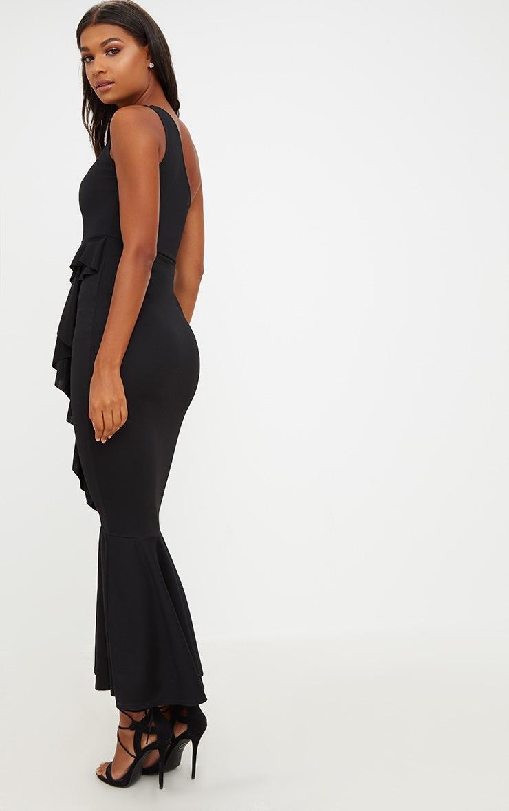 Black Ruffle Detail One Shoulder Midaxi Dress 2