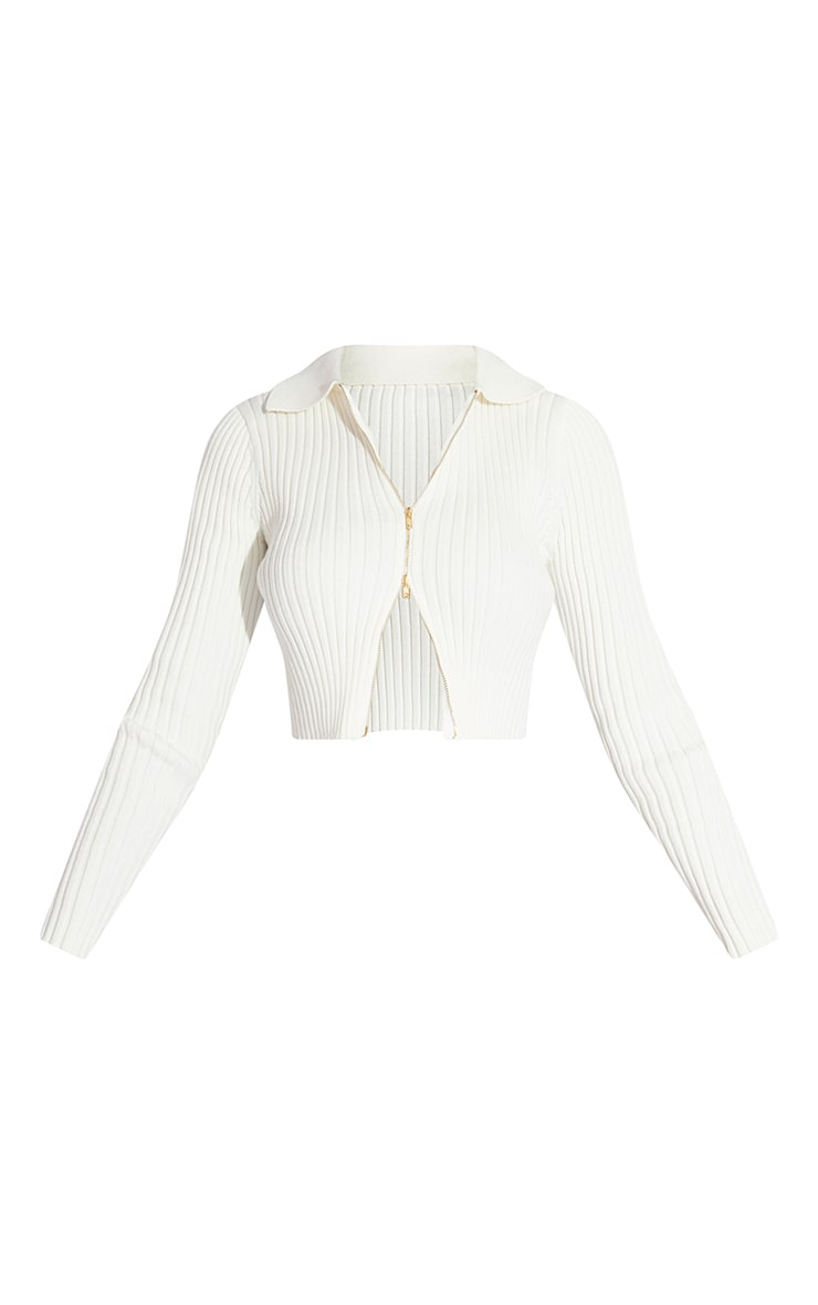 White Double Zipped Knitted Crop Top 5