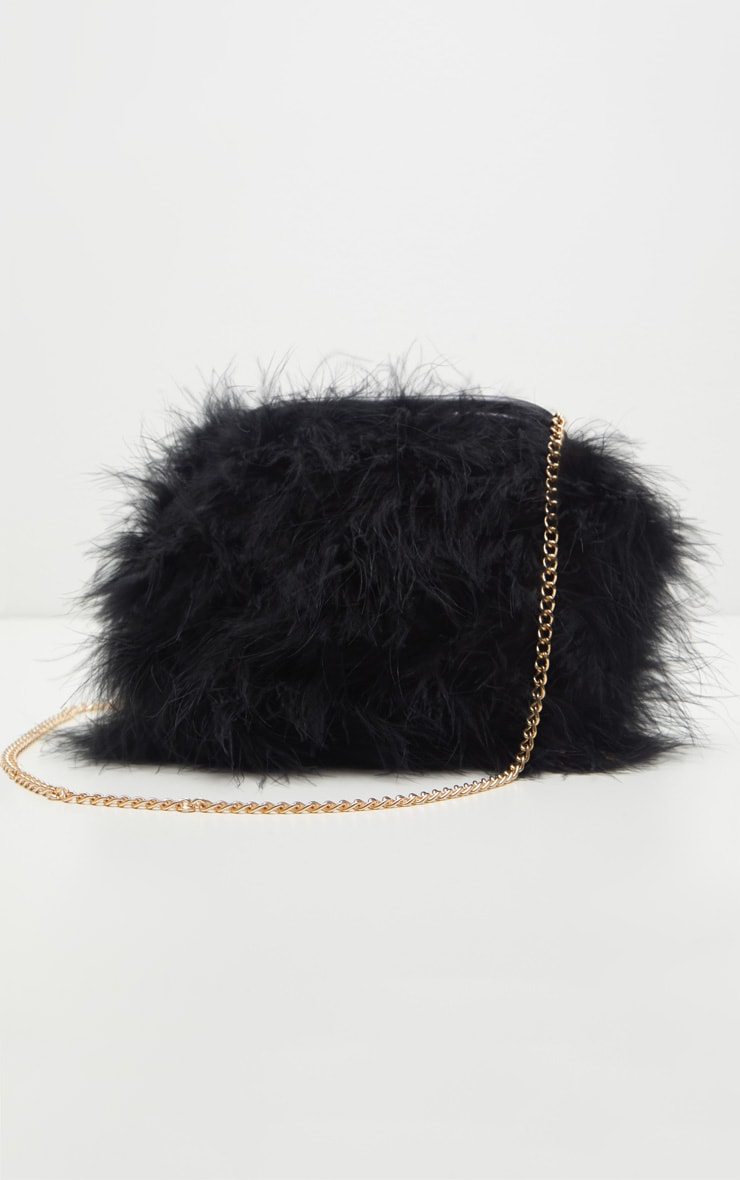 Black Marabou Feather Clutch Bag 2