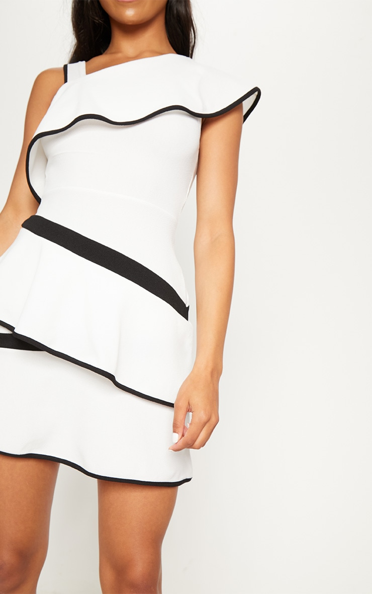 Monochrome Binding Detail One Shoulder Tiered Skater Dress 5
