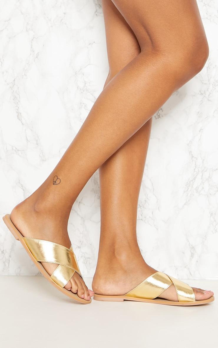 Gold Leather Cross Strap Sandal