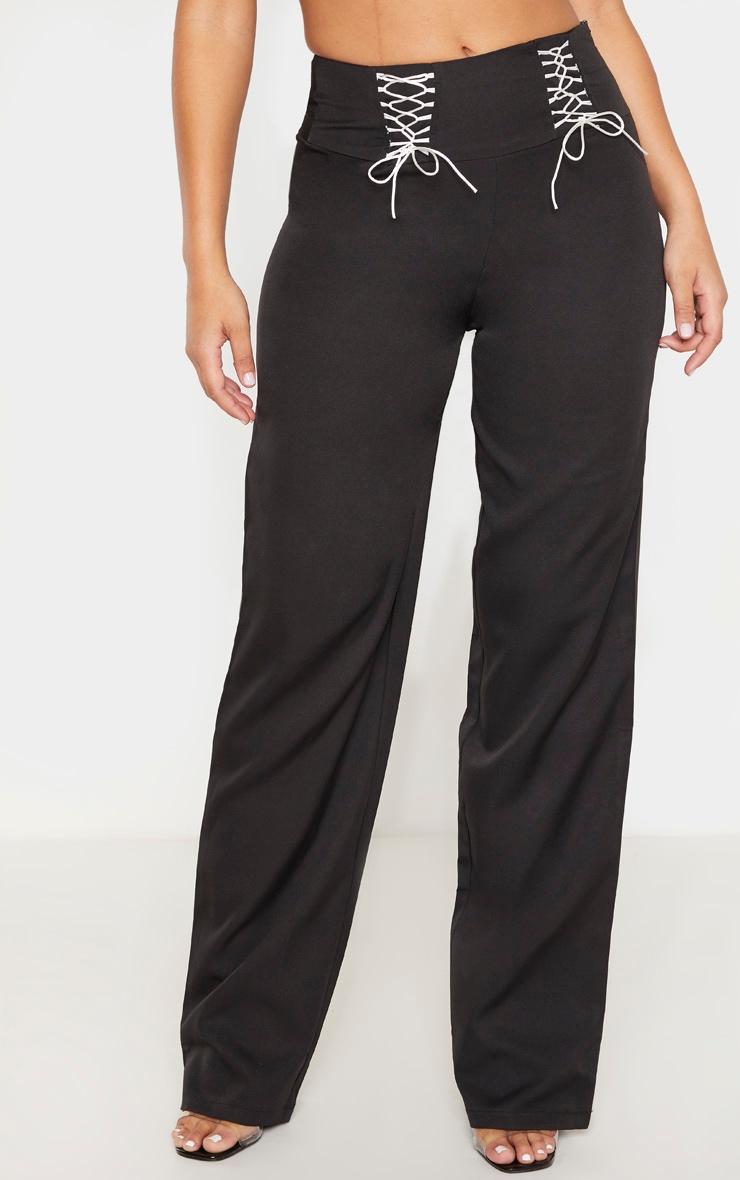 Black Woven High Waist Lace Up Straight Leg Pants 2