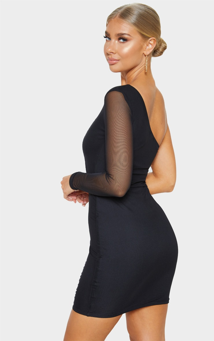 Black One Shoulder Mesh Sleeve Binding Bodycon Dress 2