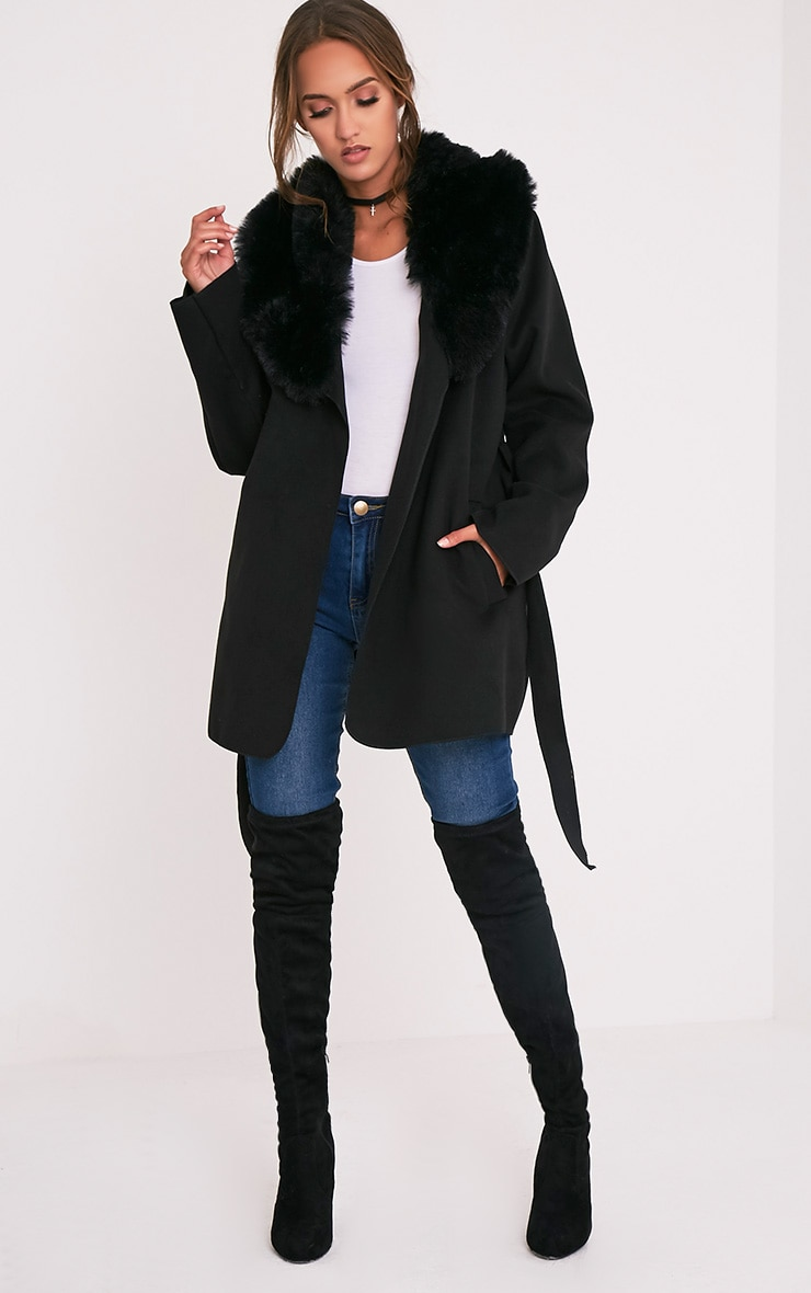Lydia Black Faux Fur Trimmed Belted Coat 5