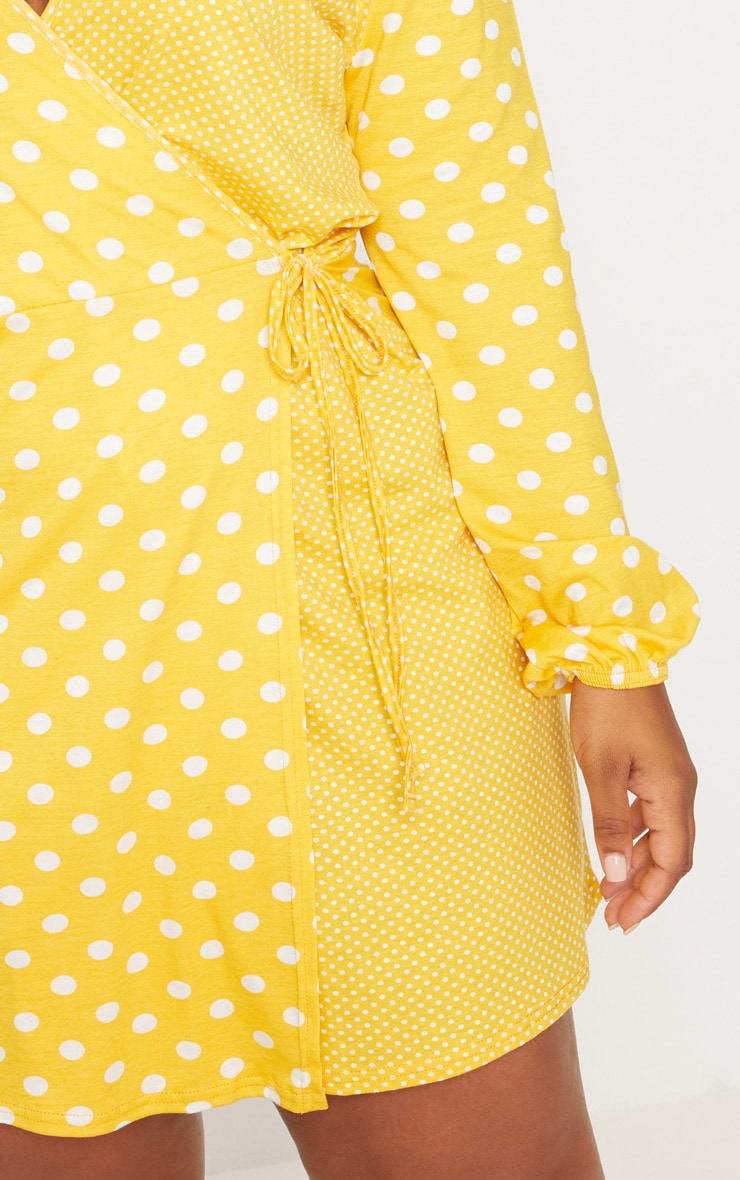 Plus Yellow Contrast Polkadot Wrap Dress 5