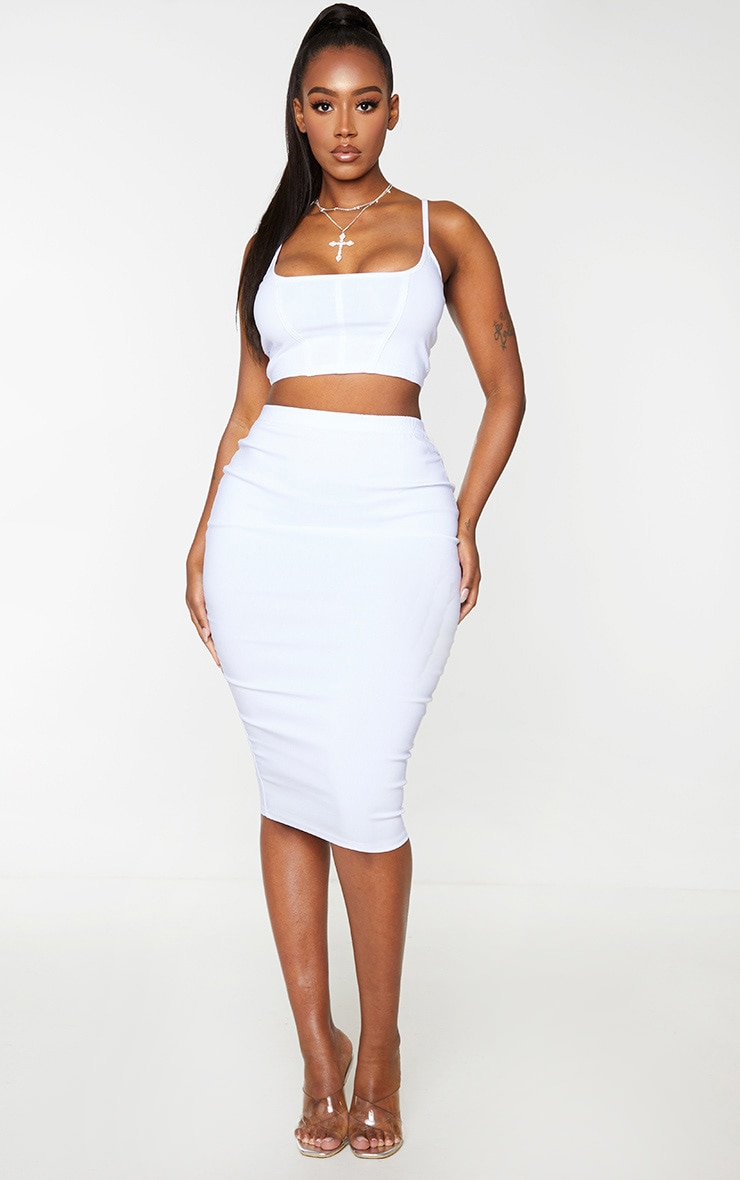 Shape Cream Stretch High Waist Midi Skirt 1