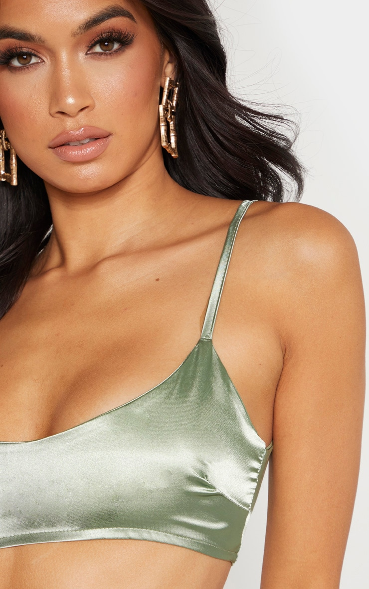 Sage Green Satin Scoop Neck Cropped Top 2