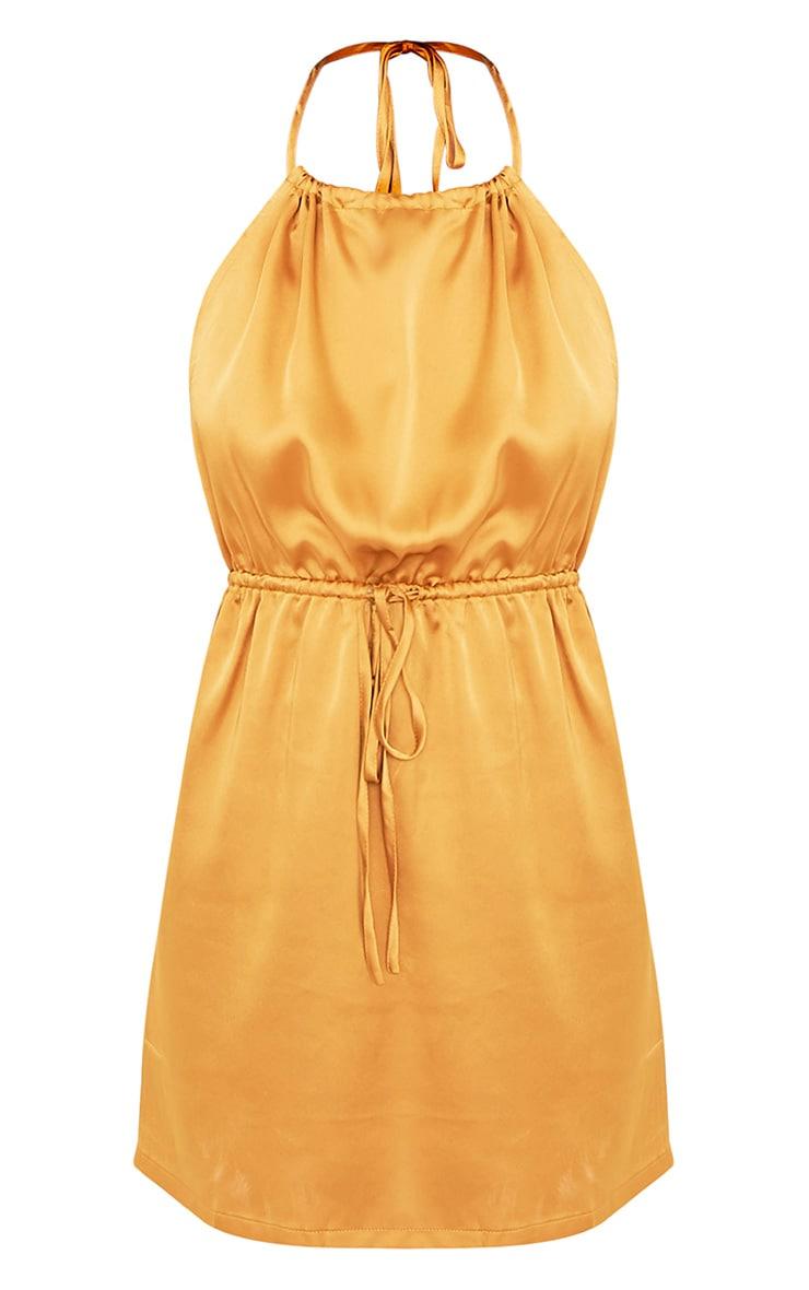 Raiane Gold Silky Halterneck Shift Dress 3