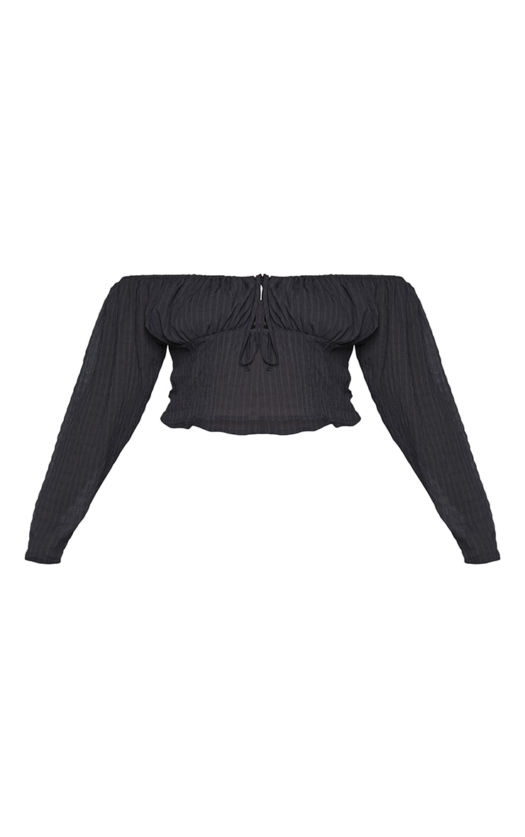 Plus Black Ruched Shirred Cropped Blouse 5