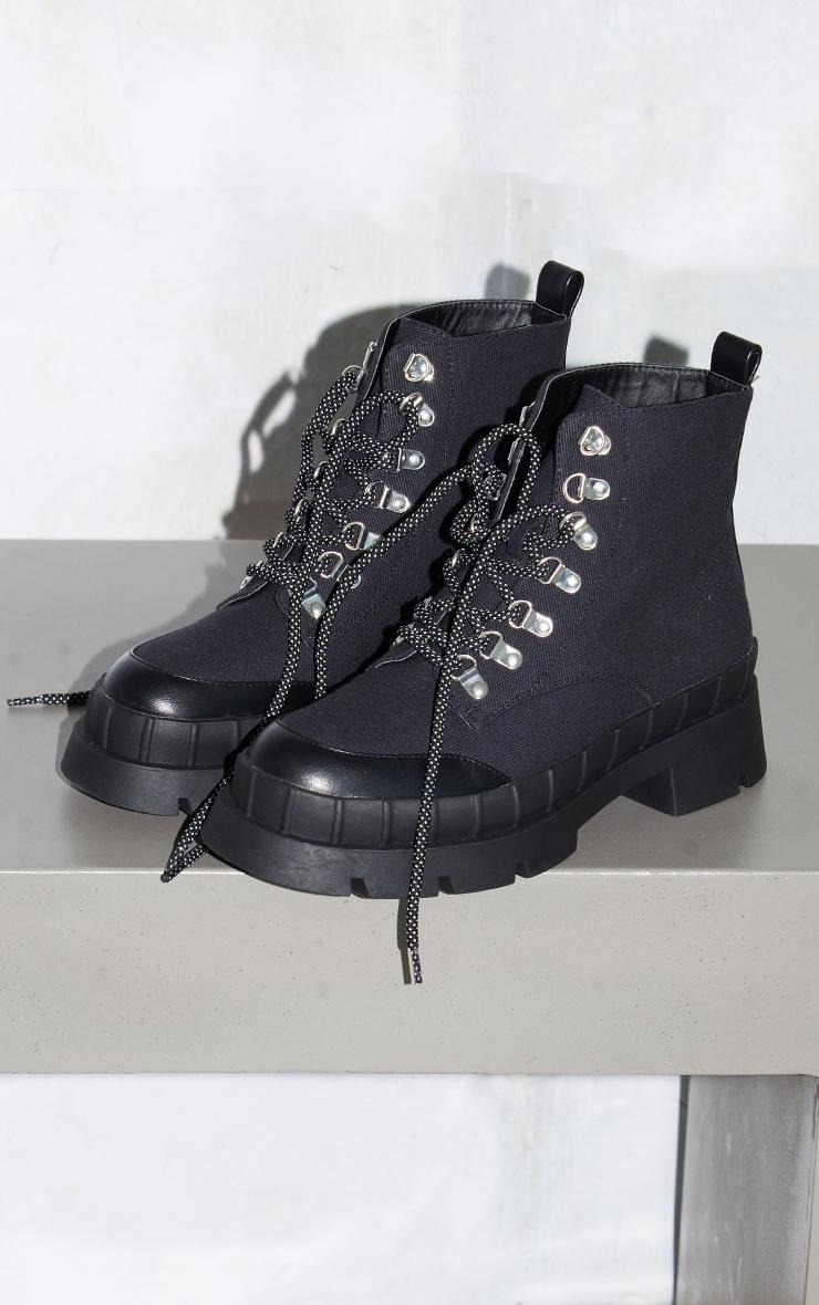 Black Canvas Round Toe Cap Hiker Lace Ankle Boots 3