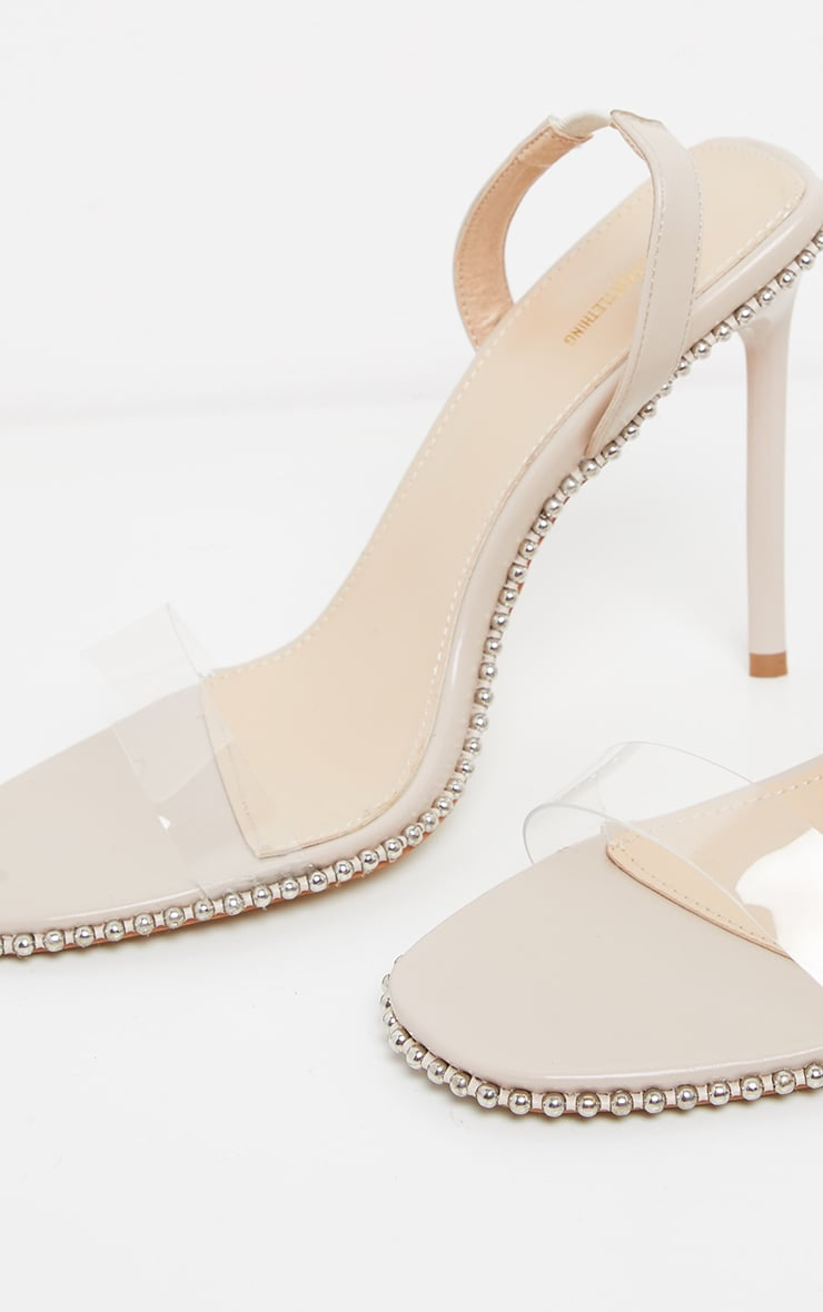 Nude Slingback Clear Studded Sandal 4