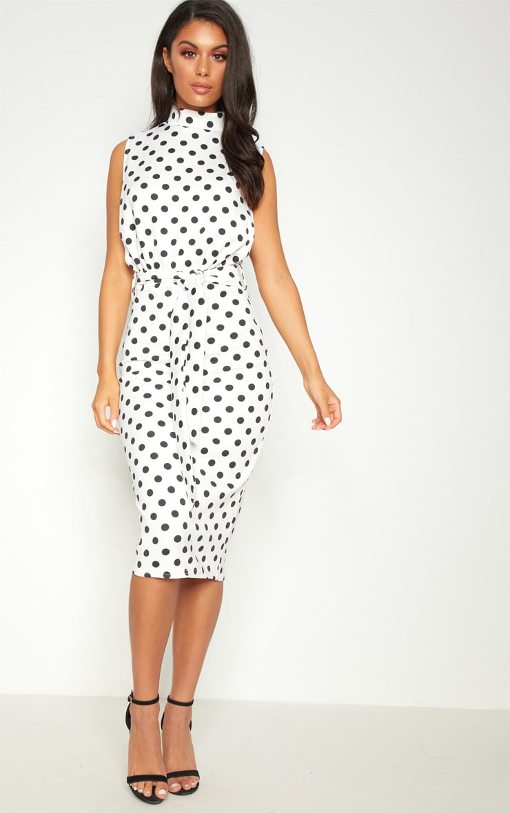 White Polka Dot High Neck Tie Waist Midi Dress 1