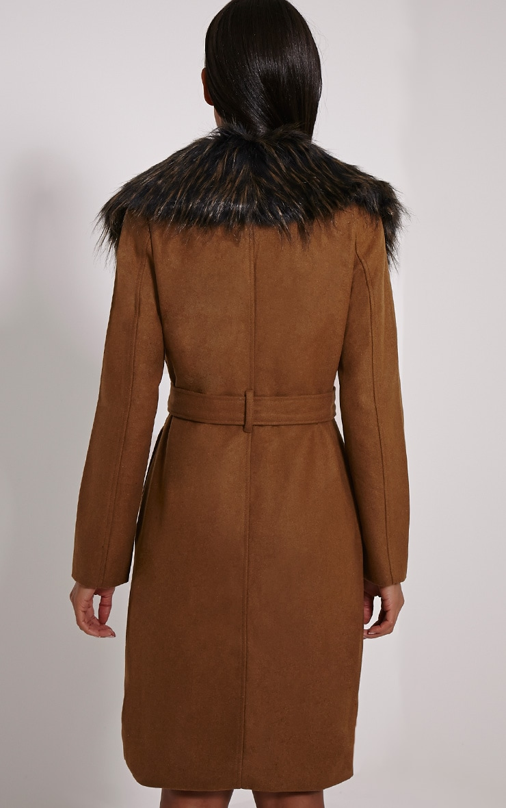 Kasey Tan Belted Faux Fur Collar Coat 2