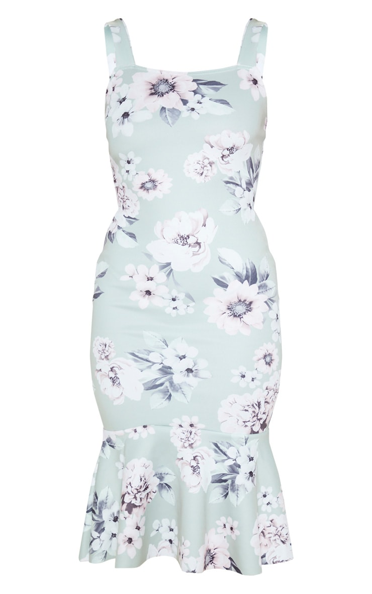 Sage Green Floral Print Square Neck Frill Hem Midi Dress 3