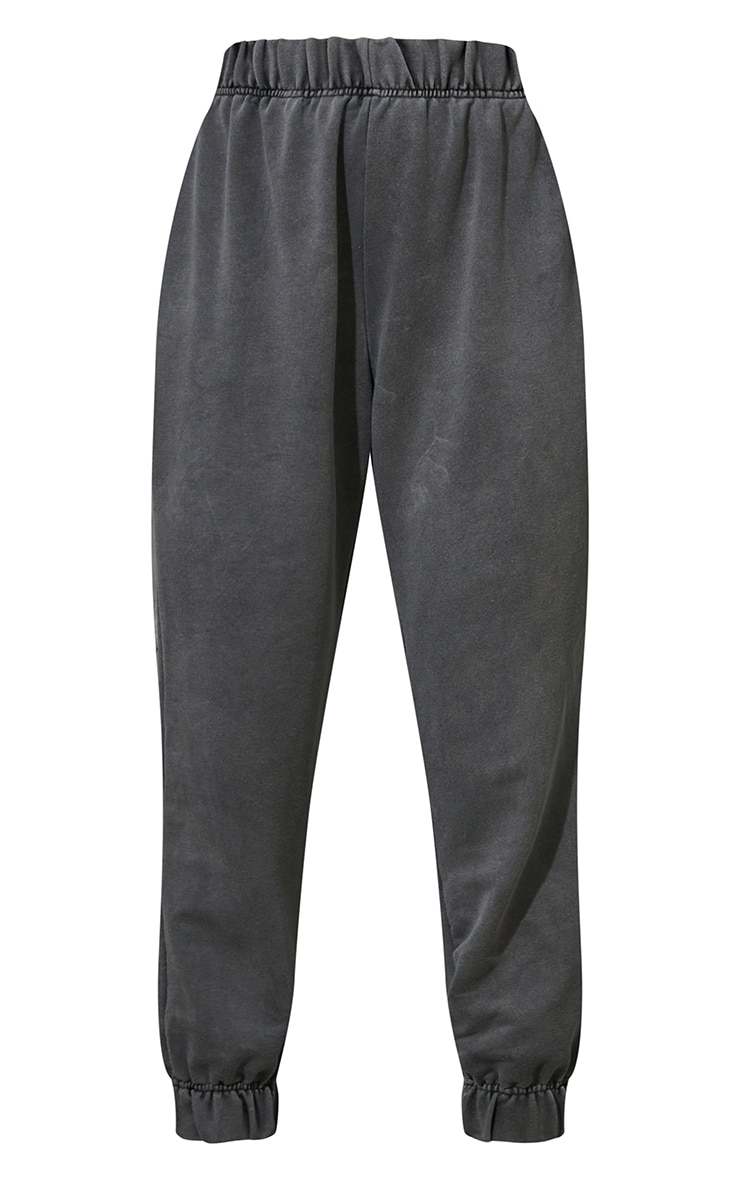 Charcoal Grey Washed High Waist Pocket Detail Cuffed Joggers 5