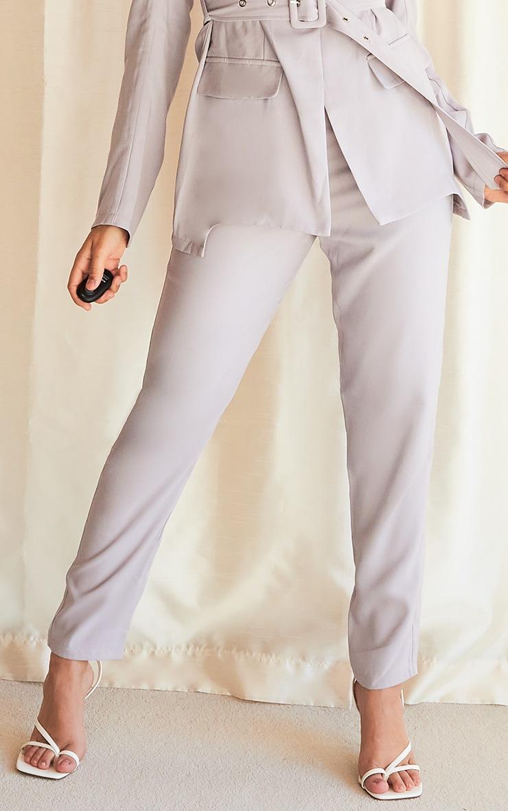 Grey Woven High Waist Cigarette Trousers 2