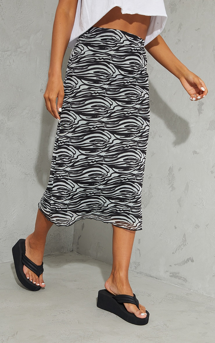 Black Zebra Mesh Midi Skirt 2