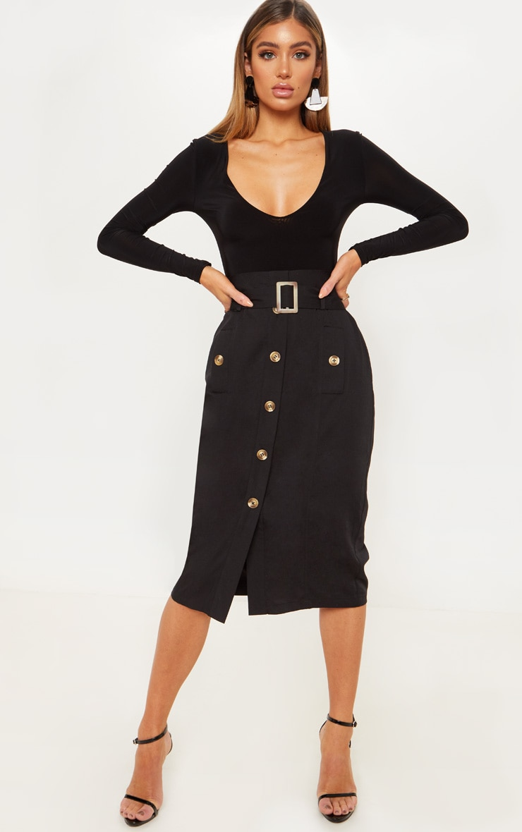Black Belted Waist Utility Skirt 1