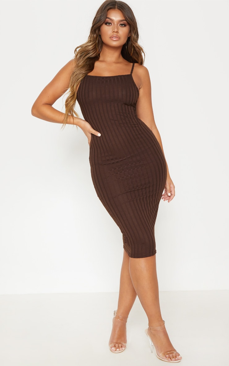 8626daac7b0d Brown Knitted Rib Midi Dress image 1