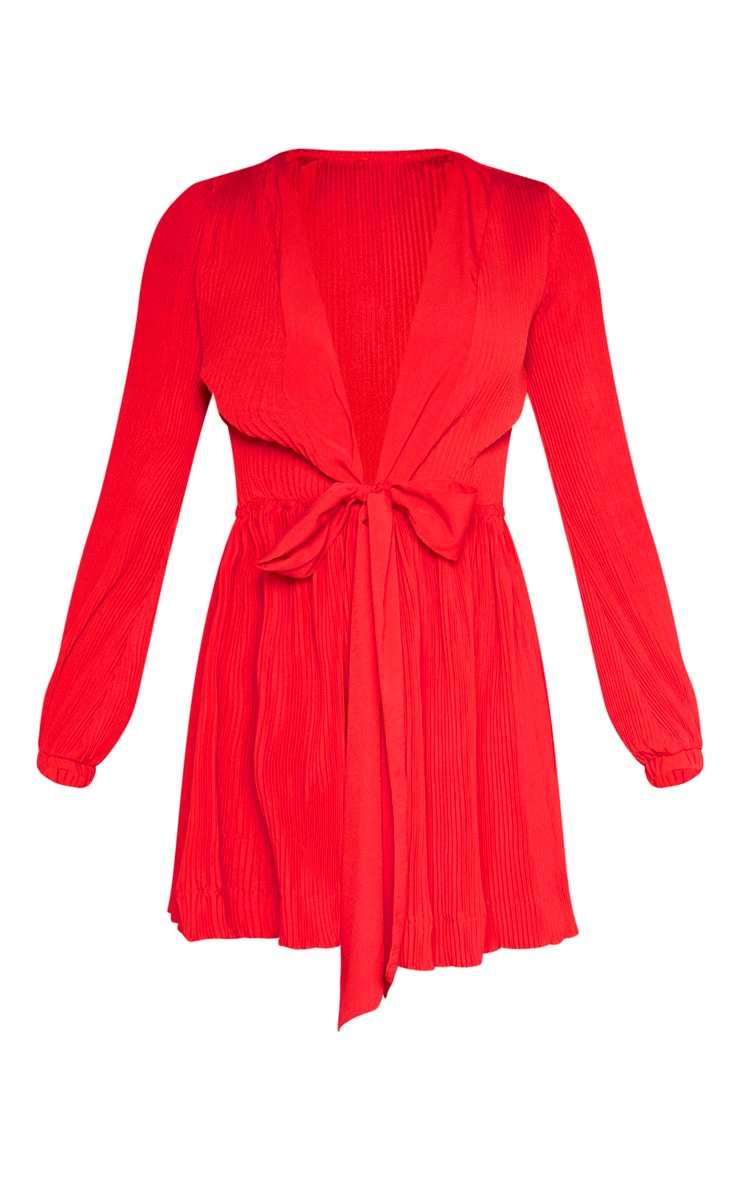 Red Pleated Plunge Long Sleeve Skater Dress 3