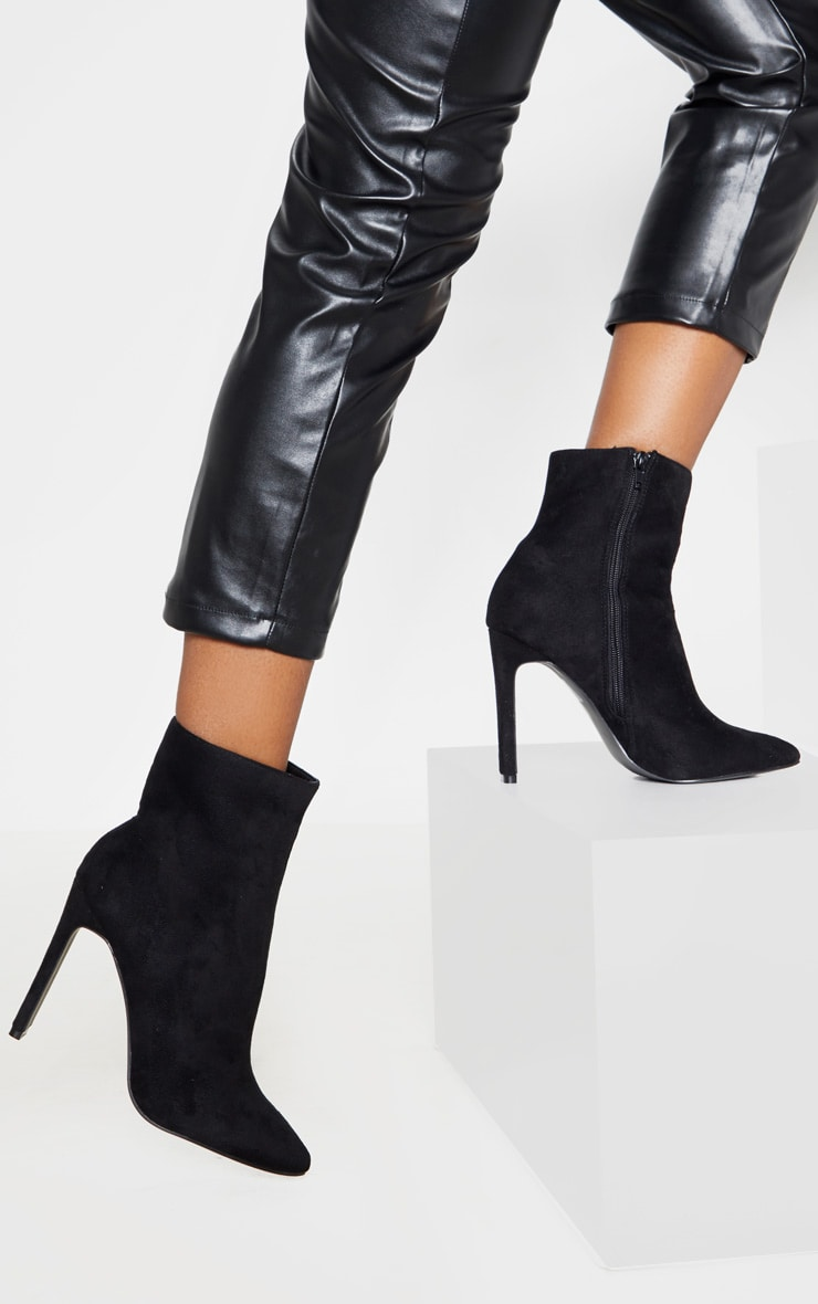 Black Wide Fit Flat Heel Point Ankle Boot 1